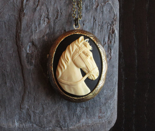 Horse cameo locket necklace