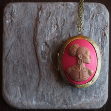 Red African cameo locket necklace