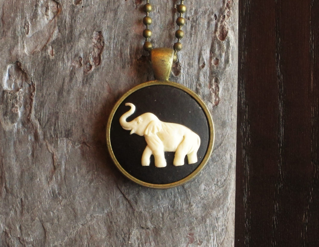 Elephant cameo necklace