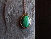 Malachite gemstone locket