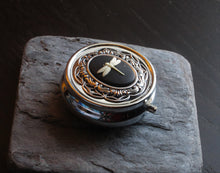 Silver dragonfly pill box