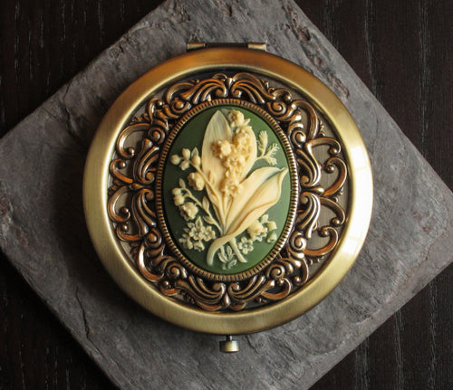Lily of the valley compact mirror