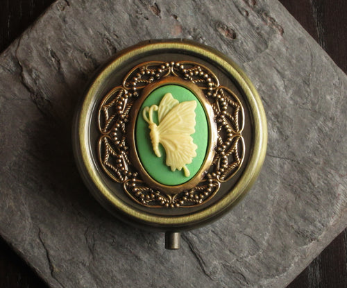 Butterfly cameo pill box