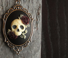 Sugar skull skeleton cameo necklace