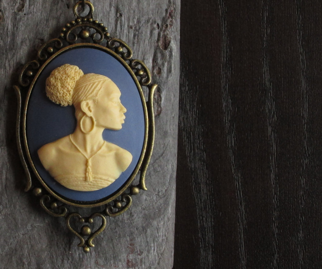 Blue African cameo necklace