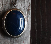 Blue agate locket necklace