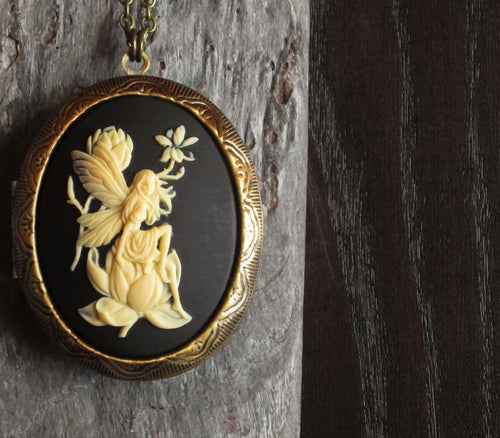 Fairy cameo locket necklace