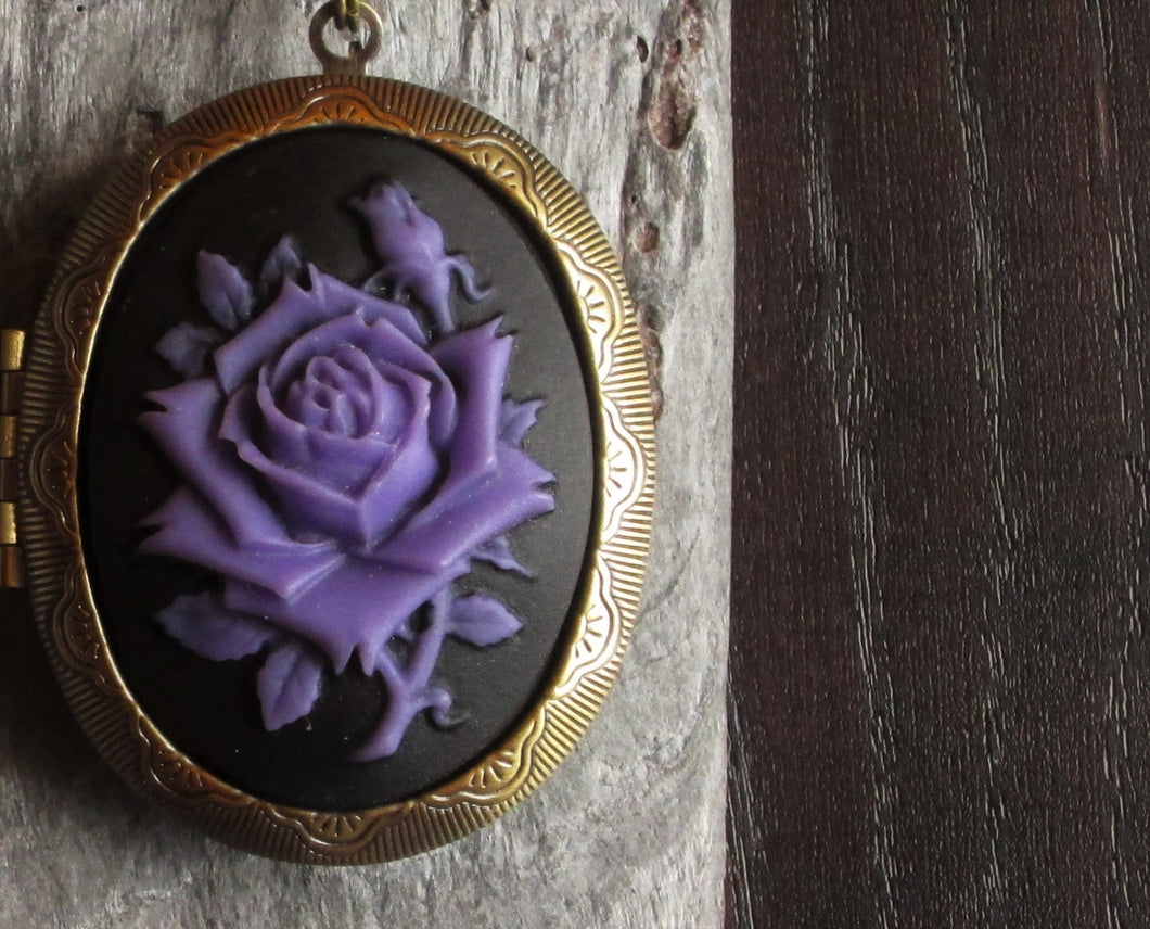 Purple rose cameo locket necklace
