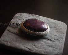 Purple jasper locket necklace