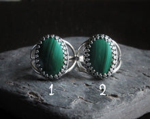 Silver malachite ring