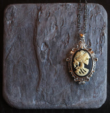 Black skeleton cameo necklace