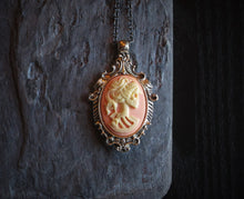 Pink skeleton cameo necklace