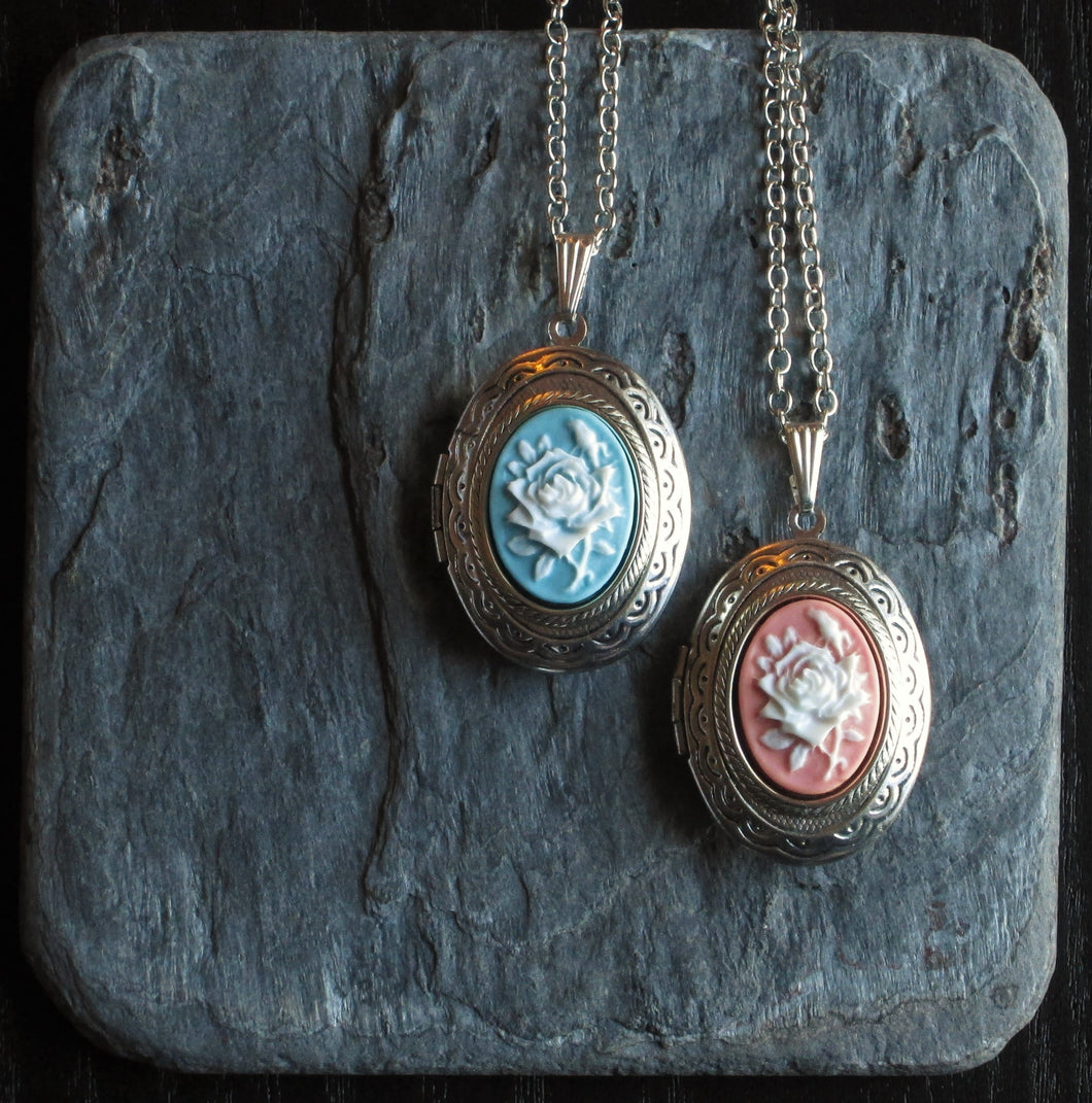 Silver rose cameo locket