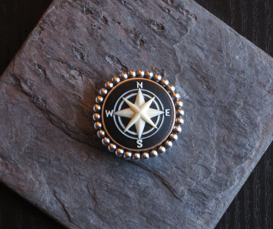 Small compass rose cameo brooch