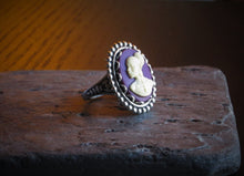 Purple African cameo ring
