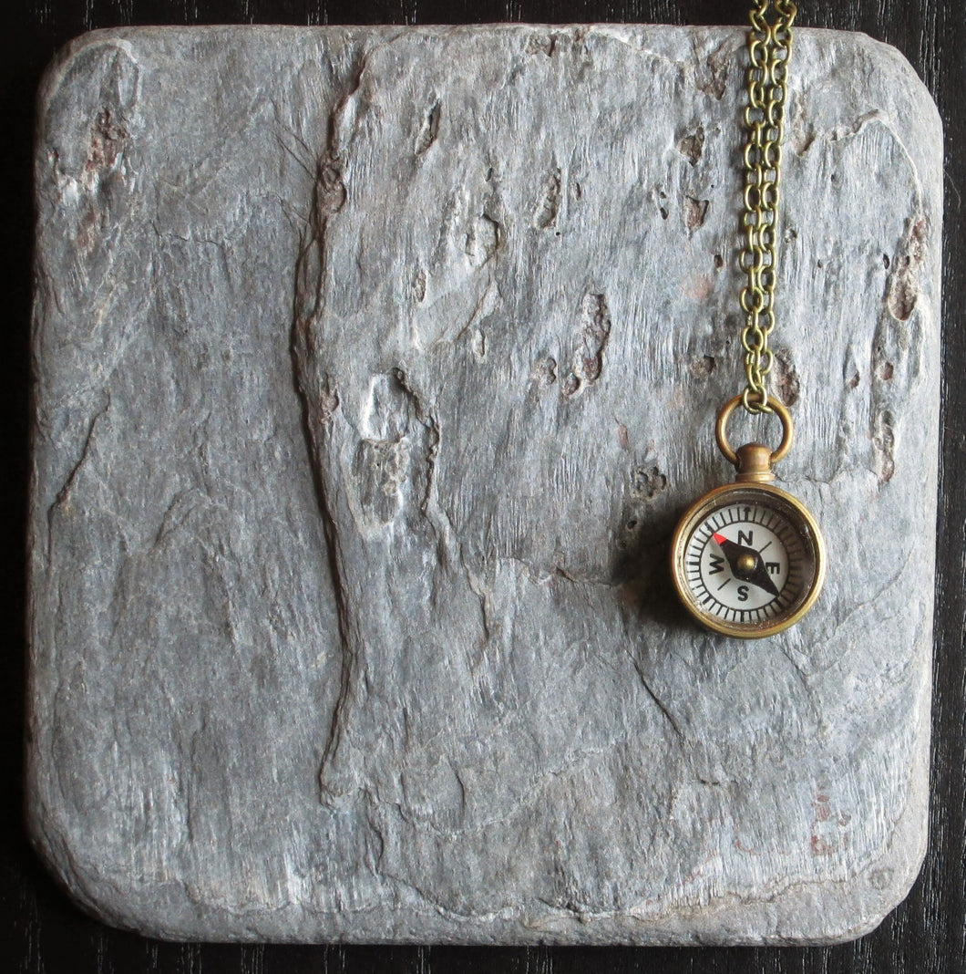TINY brass working compass necklace