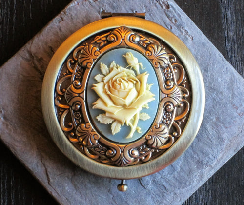 Blue rose cameo compact mirror