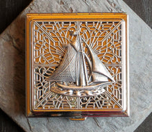 Square silver sailboat compact mirror delicate industry