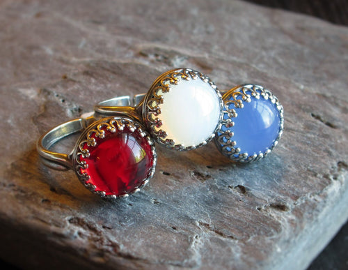 Silver glass stone ring