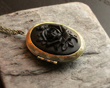 Black rose cameo locket