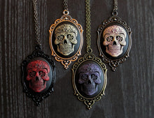Sugar skull cameo halloween necklace in red purple delicate industry