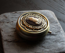 alice in wonderland pill box in antique brass