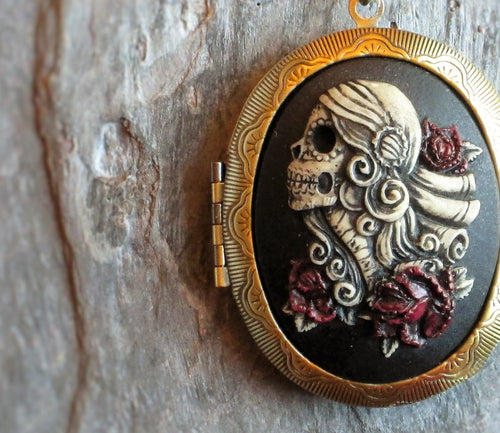 Day of the dead cameo locket necklace