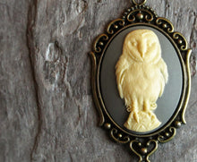 Grey owl cameo necklace