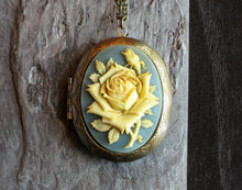 Blue rose cameo locket necklace