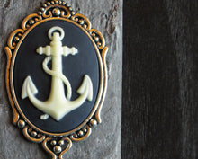 Nautical anchor cameo necklace