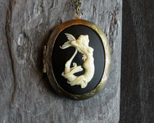 Mermaid cameo locket necklace