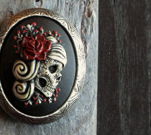 Sugar skull cameo locket necklace