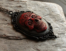 red Sugar skull cameo halloween necklace delicate industry