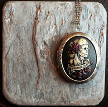 Day of the dead skeleton cameo locket necklace