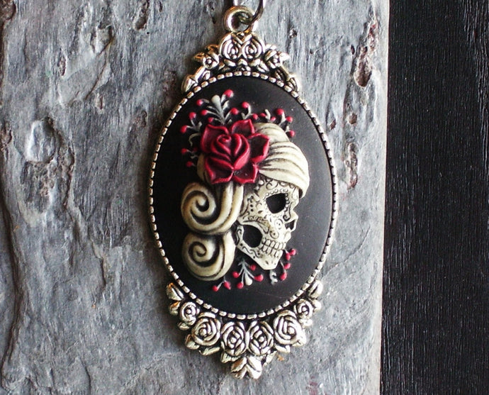day of the dead sugar skull cameo necklace