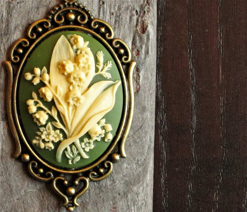Green lily of the valley cameo necklace