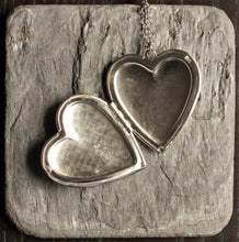 Large silver heart locket necklace