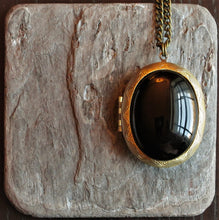 Black onyx locket necklace