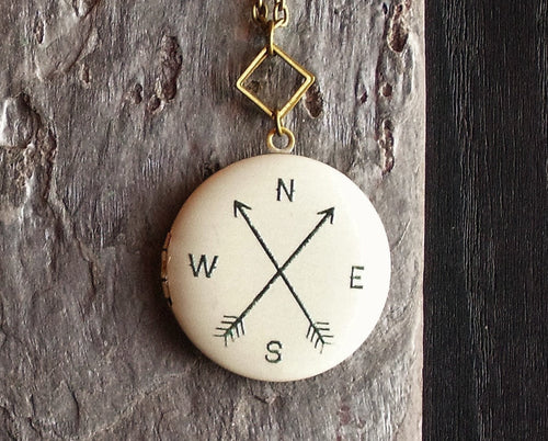 Compass rose locket necklace