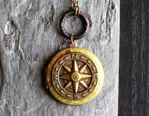 Nautical star locket necklace