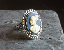 Blue African cameo ring