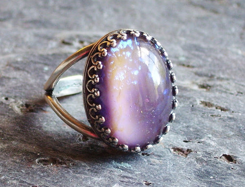 Purple moonstone ring