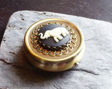 Antique brass elephant cameo pill box