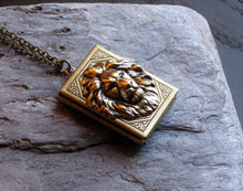 Lion book locket necklace