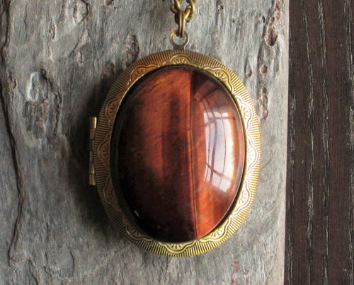 Large red tiger eye gemstone locket