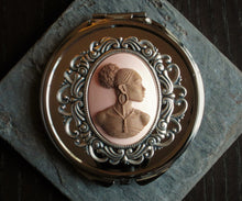 Pink African cameo compact mirror