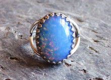 silver Sky blue glass opal ring delicate industry