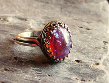 Silver red glass opal ring