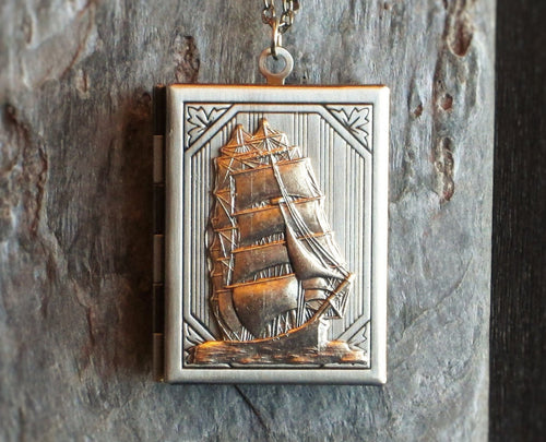 Sailboat book locket necklace