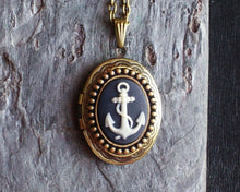 Anchor cameo locket necklace